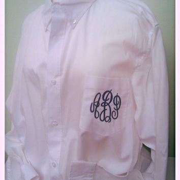 Monogrammed Bridal Party Oversized White Button Down Shirts