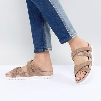 River Island Multi Strap Glitter Sliders at asos.com