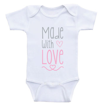 "Baby Onesuits ""Made With Love"" Cute Baby Clothes Bodysuits"
