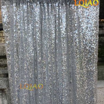 4ftx8ft Glitter Silver Sequin Backdrop Wedding Photo Booth Backdrop for Party Baby Shower Decoration Photography Background