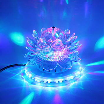 Mini RGB LED Stage Lamps Auto Rotating Crystal Magic Ball Sunflower Stage Effect Lighting Lamp Bulb Party Disco Club DJ Light