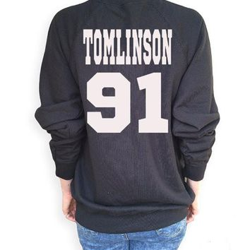 Tomlinson 91 Letter Print Funny Crewneck Sweatshirts Women Men Jumper Black white grey Casual Sweats  plus size s-xxl Dropship