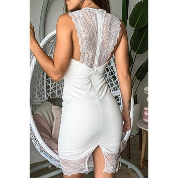 Ivory Midi Dress with Lace Detail