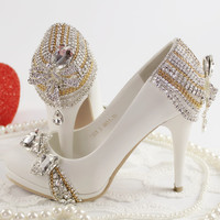 NEW high-heeled rhinestone bride wedding shoes white princess crystal single shoes female party pumps free shipping