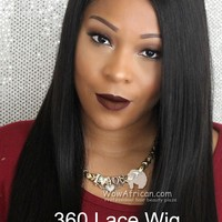 360 Lace Wig 180% Density Silky Straight Brazilian Virgin Hair [TLW01]-WOWAfrican.com
