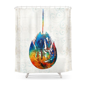 Society6 Colorful Horseshoe Crab Art By Sharon Cummings Shower Curtains