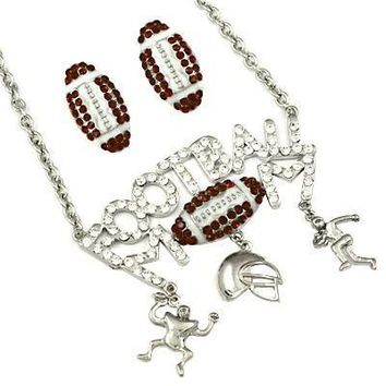 *Blinged Out Proud Football Mom Necklace Set