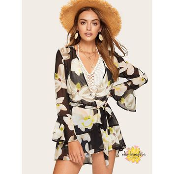 Bell Sleeve Belted Floral Kimono