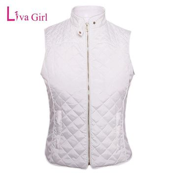 Liva Girl Autumn White Waistcoats Jacket Women Cotton Coat Warm Womens Quilted Sleeveless Puffer Female Vest Colete Feminino