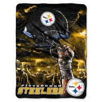 NFL Pittsburgh Steelers 60-Inch-by-80-Inch Plush Rachel Blanket, Sky Helmet Design