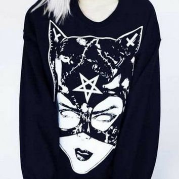 Satanic Demonic Catwoman Black Oversized Shirt