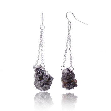 Bohemian Pink Crystal Long Earrings Irregular  Natural Stone Silver Plated Druzy Jewelry Drop Earrings For Women