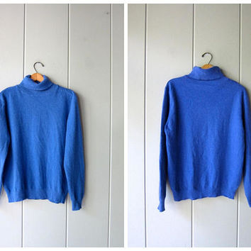 Blue Cashmere Turtleneck Adianchi Cashmere Sweater Fuzzy Soft Pullover Top Soft Thin Cozy Sweater Minimal Sweater Top Womens Large