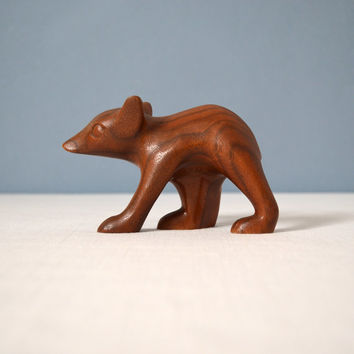 Vintage Carved Wood Bear Cub Figurine