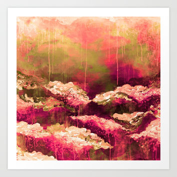 IT'S A ROSE COLORED LIFE 2 - Colorful Floral Garden Chic Abstract Pink White Olive Green Painting Art Print by EbiEmporium