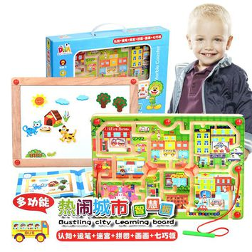 2 in 1 Wooden Toys Double Face Drawing Board Maze Puzzle Painting Blackboard Learning & Education Toys For Kids