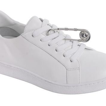 Versus Versace Women's White Leather Safety Pin Lace Up Sneakers