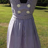 Vintage 50s/60s Lilac and White Gingham Check Dress - Julie Miller of California