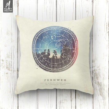 Fernweh Vol 3, throw pillow, pillow, case, cover, beautiful, nature, wanderlust, unique, original, travel, home decor, forest, stars, night.