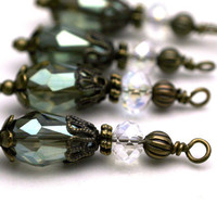 Vintage Style Teardrop Bead Dangle Charm Drop Set in Olive Green AB and Clear AB - 4 Piece Set
