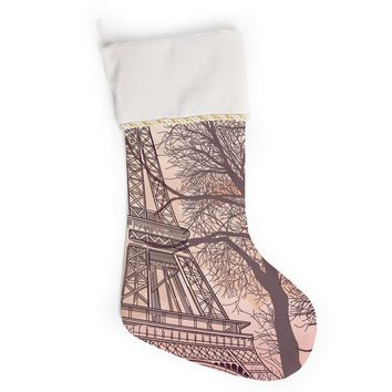 "Sam Posnick ""Eiffel Tower"" Christmas Stocking"