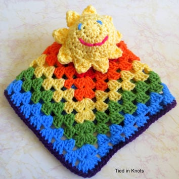 Crochet Sunshine Rainbow Lovey - Baby Snuggle Blanket - Baby Lovey -Baby blanket - Baby boy Baby girl shower gift - Over the rainbow gift