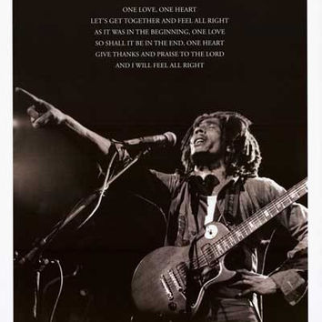 Bob Marley One Love Lyrics Poster 24x36
