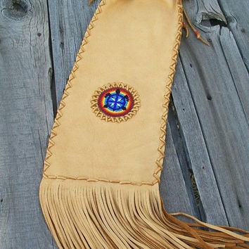 Fringed Pipe bag  Beaded turtle totem Leather Pipe bag  Beaded pipe bag