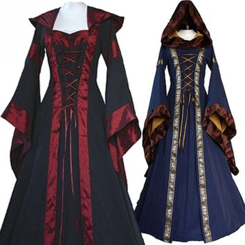 Halloween Cosplay Costumes Scary Vampire Witch Costume for Women Medieval Victorian Masquerade Costume Black Fancy Maxi Dress