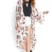 FOREVER 21 Rose Print Maxi Cardigan Ivory/Multi