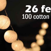 26 feet long 100 cotton ball LED light warm white string light hanging Xmas party decoration Christmas decor