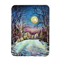 Silent Night Winter Full Moon in Sweden Magnet