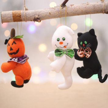 Halloween Decorations Plush Little Doll Black Cat/ Pumpkin/ Ghost Pendant Bar Home Halloween Party Decoration Children's Gifts
