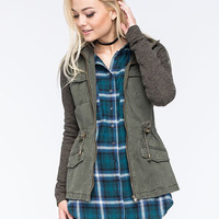 Full Tilt Marled Womens Anorak Jacket Olive  In Sizes