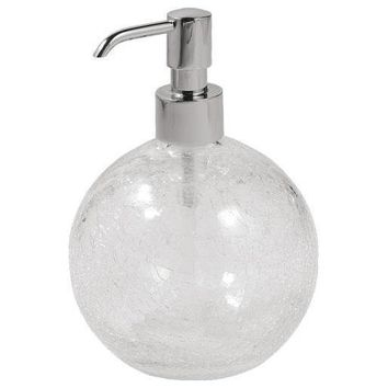 GM Luxury Brilla Crackled Glass Standing Ball Pump Liquid Soap Lotion Dispenser