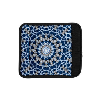 "Iris Lehnhardt ""Mandala II"" Blue Abstract Luggage Handle Wrap"