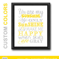 yellow gray you are my sunshine my only sunshine nursery wall saying, you are my sunshine print kids quote song new baby decor baby gift