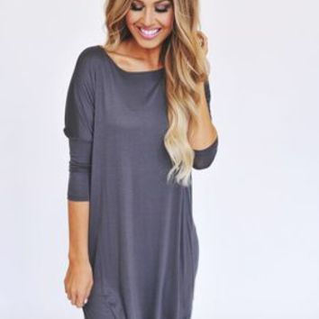 3/4th Sleeve Piko Tunic- Charcoal