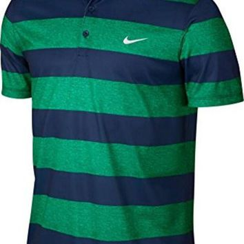 DCCK8BW Nike Men's Golf Victory Bold Stripe Polo - Small - Lucid Green/Midnight Navy/White