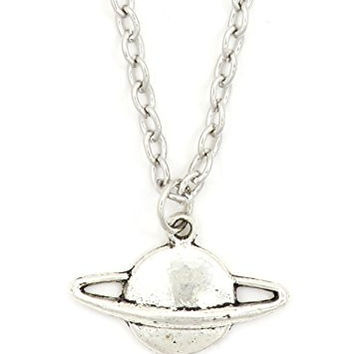 Planet Saturn Necklace Outer Space Silver Tone Pendant NR65 Fashion Jewelry