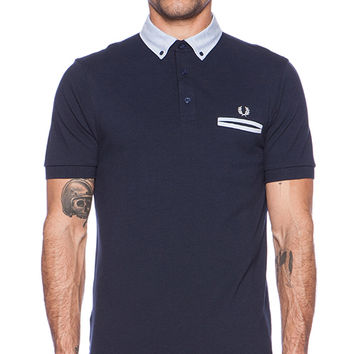 Fred Perry Woven Trim Pique Shirt in Blue