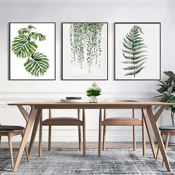 Home Decor Nordic Canvas Painting Gray Plant Leaves Branch Pastoral Picture Living Room Office Bedroom Hotel Wall Art Prop DIY