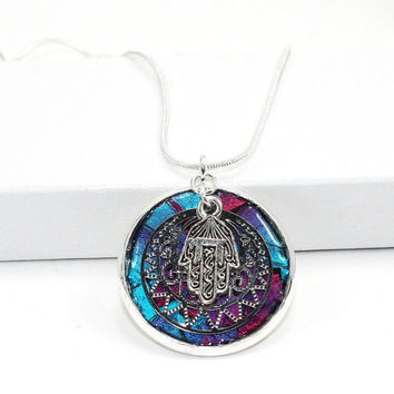Burgundy and Cobalt Enameled Inlay Pendant with Jewish Chai Hamsa Charm