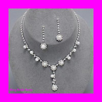 Flattering Y Drop Bridal Wedding White Pearl Necklace Earring Set Silver Tone