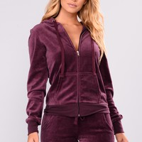 New School Velour Jacket  - Plum