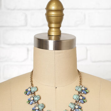 Marbled Blue Cabochon and Faceted Gemstone Bib Necklace