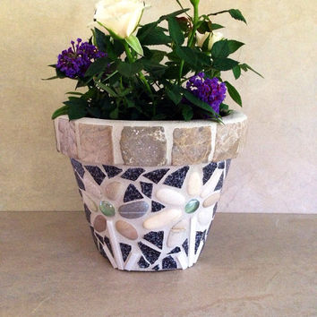 Mosaic flower pot, outdoor planter, indoor kitchen planter, living room planter, handmade herb pot, rustic plant storage, mosaic planter pot