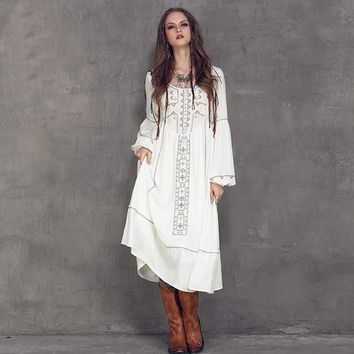 Bohemian Long Empire High Waist Lantern Sleeve Dress