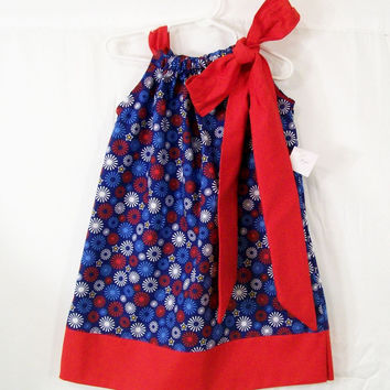 Girls Pillowcase Dress, REd White Blue Girls Dress, Little Girls Dress, Handmade Dress, Made in the USA, #101