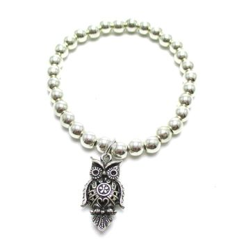 Large Owl Bird Shaped Charm Animal Themed Stretchy Bracelet in Silver